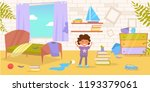 children's room. dirty  messy... | Shutterstock .eps vector #1193379061