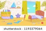 children's room. dirty  messy... | Shutterstock .eps vector #1193379064
