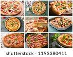 set of tasty italian pizzas | Shutterstock . vector #1193380411