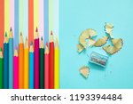 colored pencils  trash and... | Shutterstock . vector #1193394484