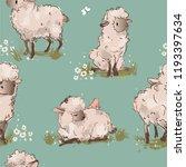 cute sheeps seamless pattern | Shutterstock .eps vector #1193397634