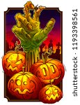 cartoon scary green zombie... | Shutterstock .eps vector #1193398561