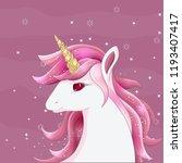 cute unicorn with gold glitter...   Shutterstock .eps vector #1193407417