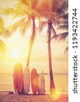 surfboard and palm tree on... | Shutterstock . vector #1193422744