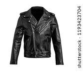 mens black leather jacket... | Shutterstock . vector #1193423704