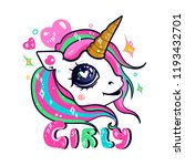 sparkling kawaii unicorn. hand... | Shutterstock .eps vector #1193432701