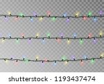 christmas lights string vector. ... | Shutterstock .eps vector #1193437474