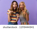 two pretty cheerful young girls ... | Shutterstock . vector #1193444341