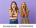 two pretty shocked young girls... | Shutterstock . vector #1193444404