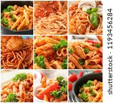 set with served delicious pasta.... | Shutterstock . vector #1193456284