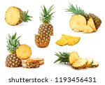 set of juicy pineapples on... | Shutterstock . vector #1193456431