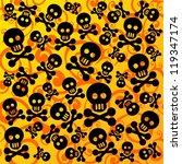 skulls and bones on a yellow...   Shutterstock . vector #119347174