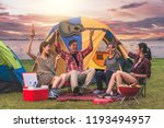 travel group of asian friends... | Shutterstock . vector #1193494957