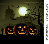 ghostly halloween poster with... | Shutterstock .eps vector #1193495191