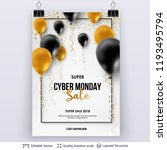 cyber monday sale background... | Shutterstock .eps vector #1193495794