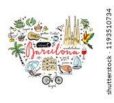 barcelona cute illustrations in ... | Shutterstock .eps vector #1193510734