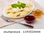 cooked dumpling with spearmint... | Shutterstock . vector #1193524444