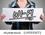 the word wi fi written on a... | Shutterstock . vector #1193555071