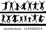 happy jumping people ... | Shutterstock .eps vector #1193582014