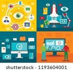 visualization banner set. flat... | Shutterstock .eps vector #1193604001