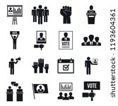 political meeting icon set.... | Shutterstock .eps vector #1193604361
