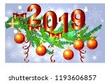 a red christmas background with ... | Shutterstock .eps vector #1193606857