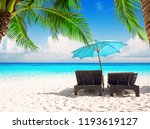 Beach Chairs With Umbrella And...