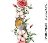watercolor vertical border with ... | Shutterstock . vector #1193625847