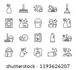 cleaning line icons. laundry ... | Shutterstock . vector #1193626207