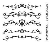 collection of handdrawn swirls... | Shutterstock .eps vector #1193670601