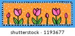 Pink Tulips  Border Illustration Painting - stock photo