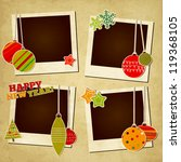 Scrap holiday vintage set of photo frames for Christmas and New Year - stock vector