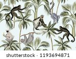 Stock vector tropical vintage monkey sloth lemur palm trees floral seamless pattern blue background exotic 1193694871