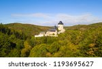 aerial view of karlstejn castle.... | Shutterstock . vector #1193695627