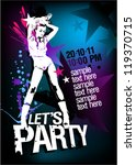 Let`s Party design template with fashion girl and place for text. - stock vector