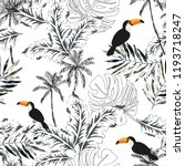 toucans  graphic palm leaves ...   Shutterstock .eps vector #1193718247