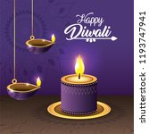 diwali vassels and candle lits... | Shutterstock .eps vector #1193747941