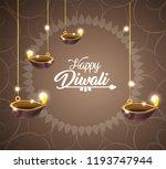 diwali vassels lits hanging... | Shutterstock .eps vector #1193747944