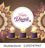 diwali candles lits with... | Shutterstock .eps vector #1193747947