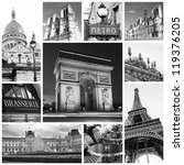 paris collage in black and white | Shutterstock . vector #119376205