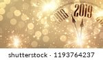 gold shiny new year 2019 poster ... | Shutterstock .eps vector #1193764237
