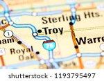Troy. Michigan. USA on a map