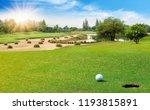 white golf ball on green course ... | Shutterstock . vector #1193815891