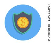 shield and coin colored icon in ...