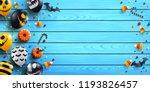 halloween wood background with... | Shutterstock .eps vector #1193826457