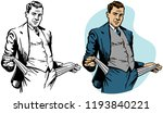 a man turns his pockets inside... | Shutterstock .eps vector #1193840221