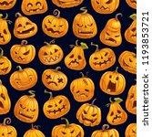 halloween scary pumpkins... | Shutterstock .eps vector #1193853721