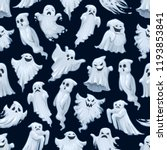 halloween cartoon ghost pattern ... | Shutterstock .eps vector #1193853841