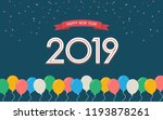 happy new year 2019 with... | Shutterstock .eps vector #1193878261