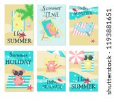 vector set of cards wirh cute... | Shutterstock .eps vector #1193881651